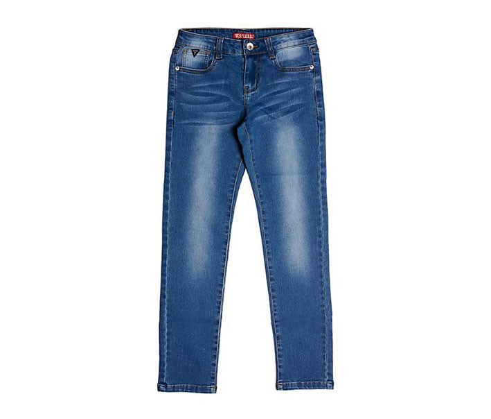 Kids Girls Five Pocket Jeans, Blue