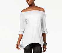 NY Collection Off-The-Shoulder Hankderchief Hem Top, White