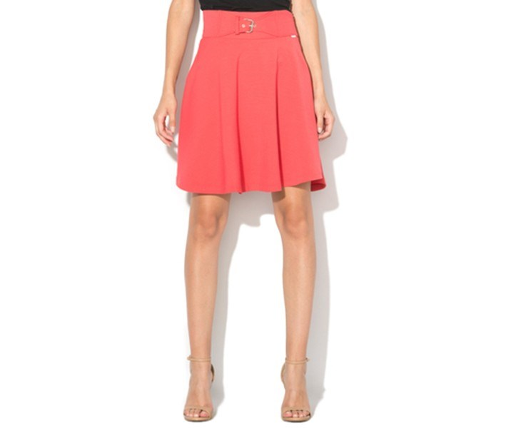 Women's Decorative Buckle Skirt, Coral