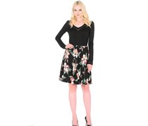 Guess Women's Floral Print Skirt, Black/Red