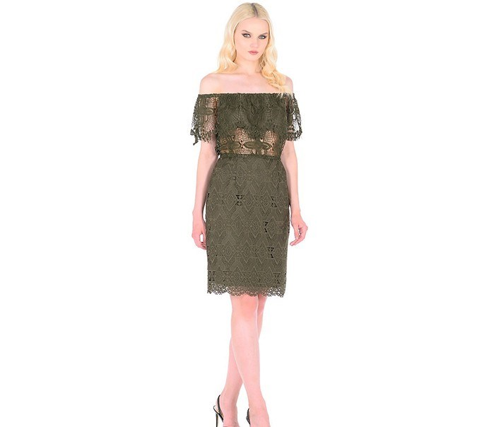 Women's Lace Mini Skirt, Olive
