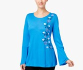 NY Collection Bell-Sleeve Embroidered Top, Blue