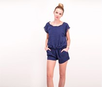 Joie Paolla Crocheted Trim Silk Romper, Navy