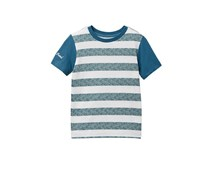 Lucky Brand Boys Stripe Screen Print Tee, Mineral Blue