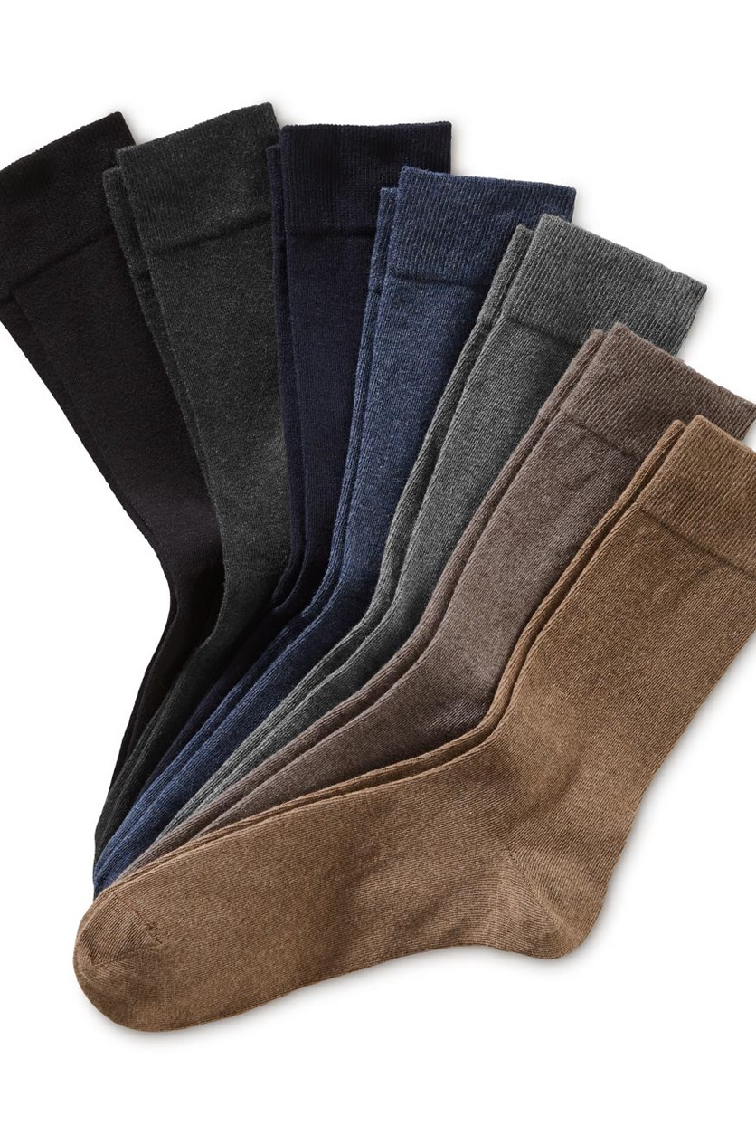Men's Socks Set of 7, Black/Anthracite/Dark Blue/Blue/Gray/Brown/Light Brown