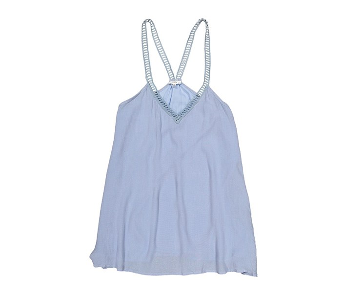 Women's V-Neck Sleeveless Top, Light Denim Blue
