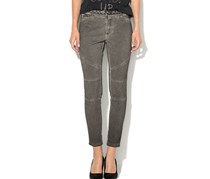 Guess Womens Belted Trousers Dye Wash, Grey