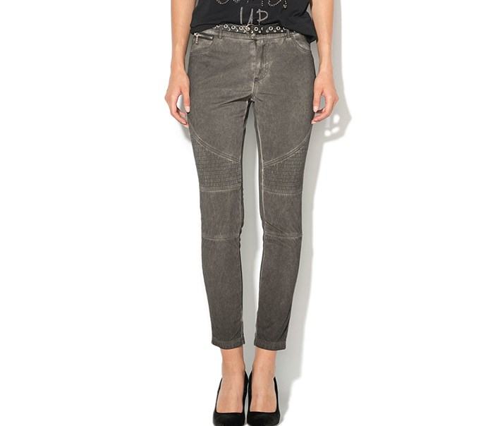 Womens Belted Trousers Dye Wash, Grey
