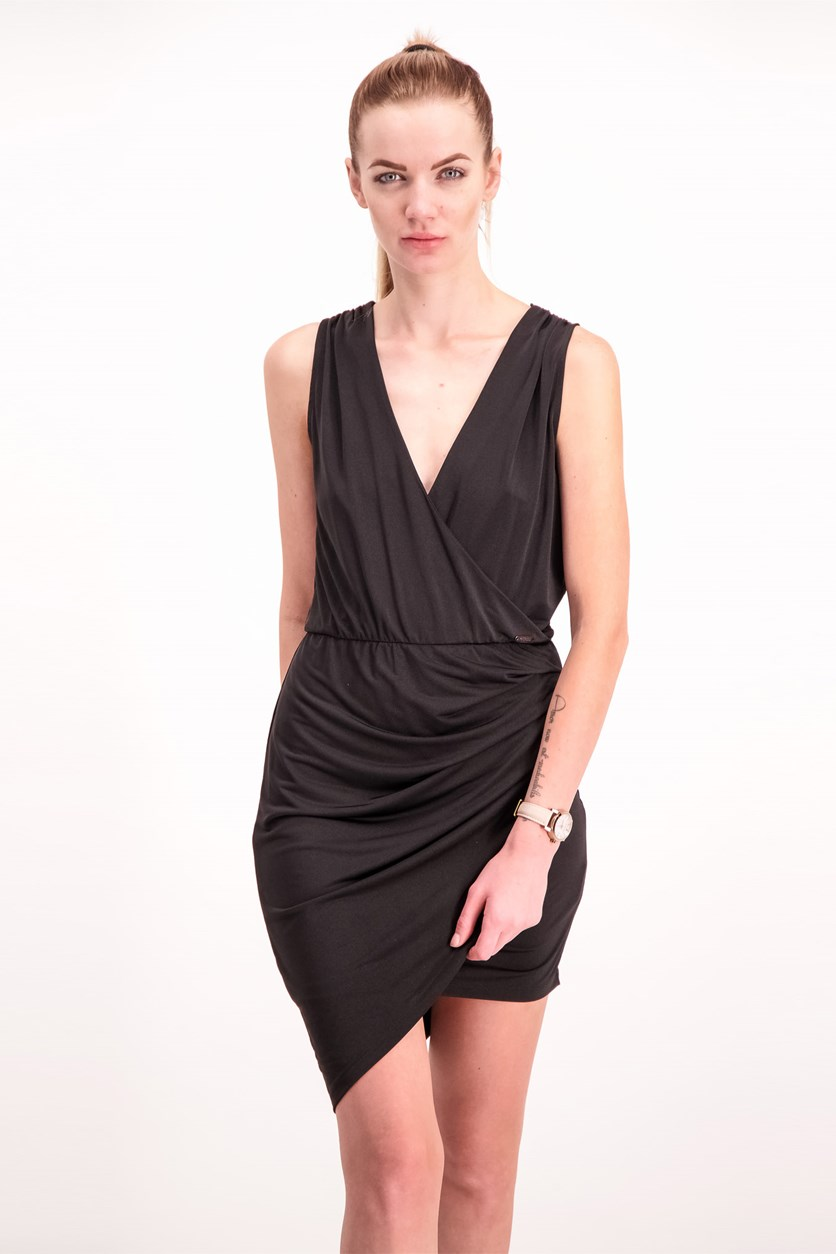 Womens Asymmetrical Hem Dress, Black