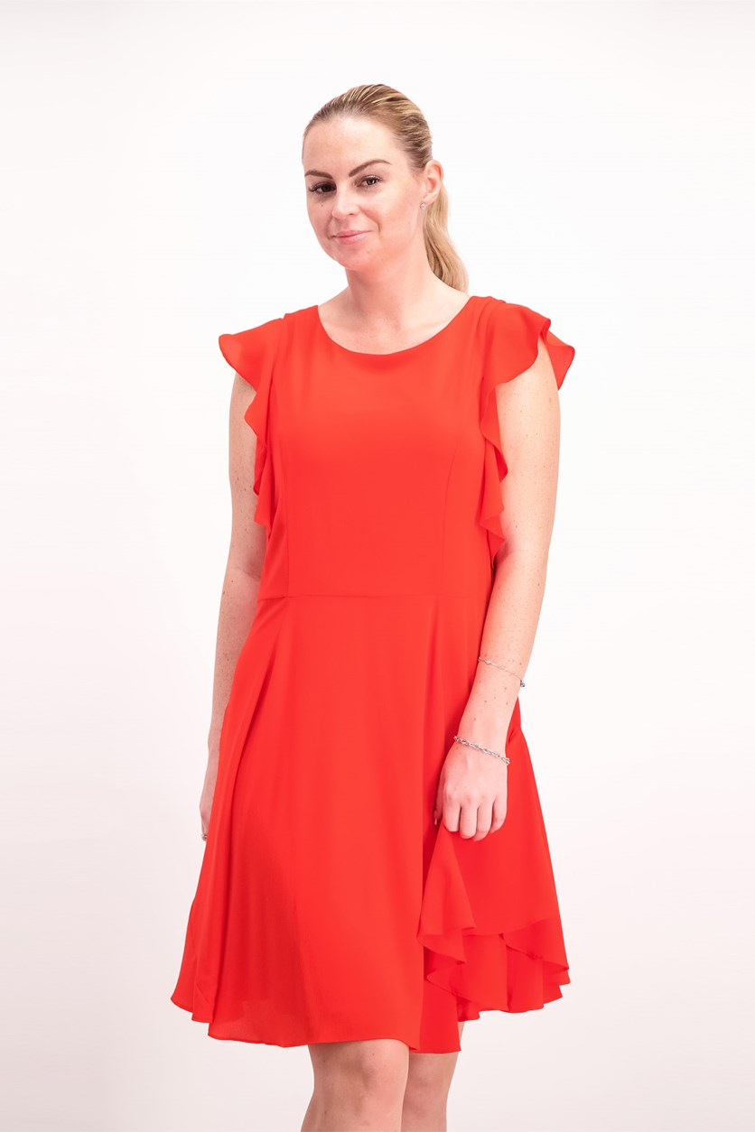 Women's Flutter Sleeves Dress, Tangerine