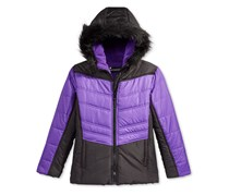 S. Rothschild Hooded Colorblocked Puffer Jacket with Faux-Fur Trim, Purple