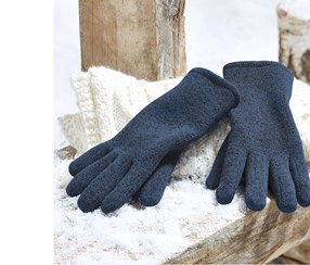 Knitted Fleece Gloves, Dark Blue