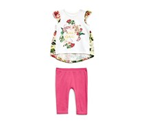 Guess Cap Sleeve Tee and Pants Set, White/Pink