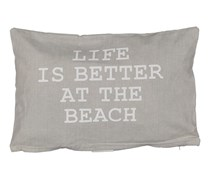 Better At Beach Printed Decorative Pillow Shell, Gray