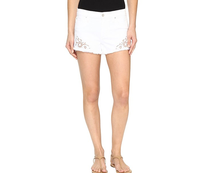 Joe's Jeans Cutoff Crochet Denim Shorts in Lemley, White