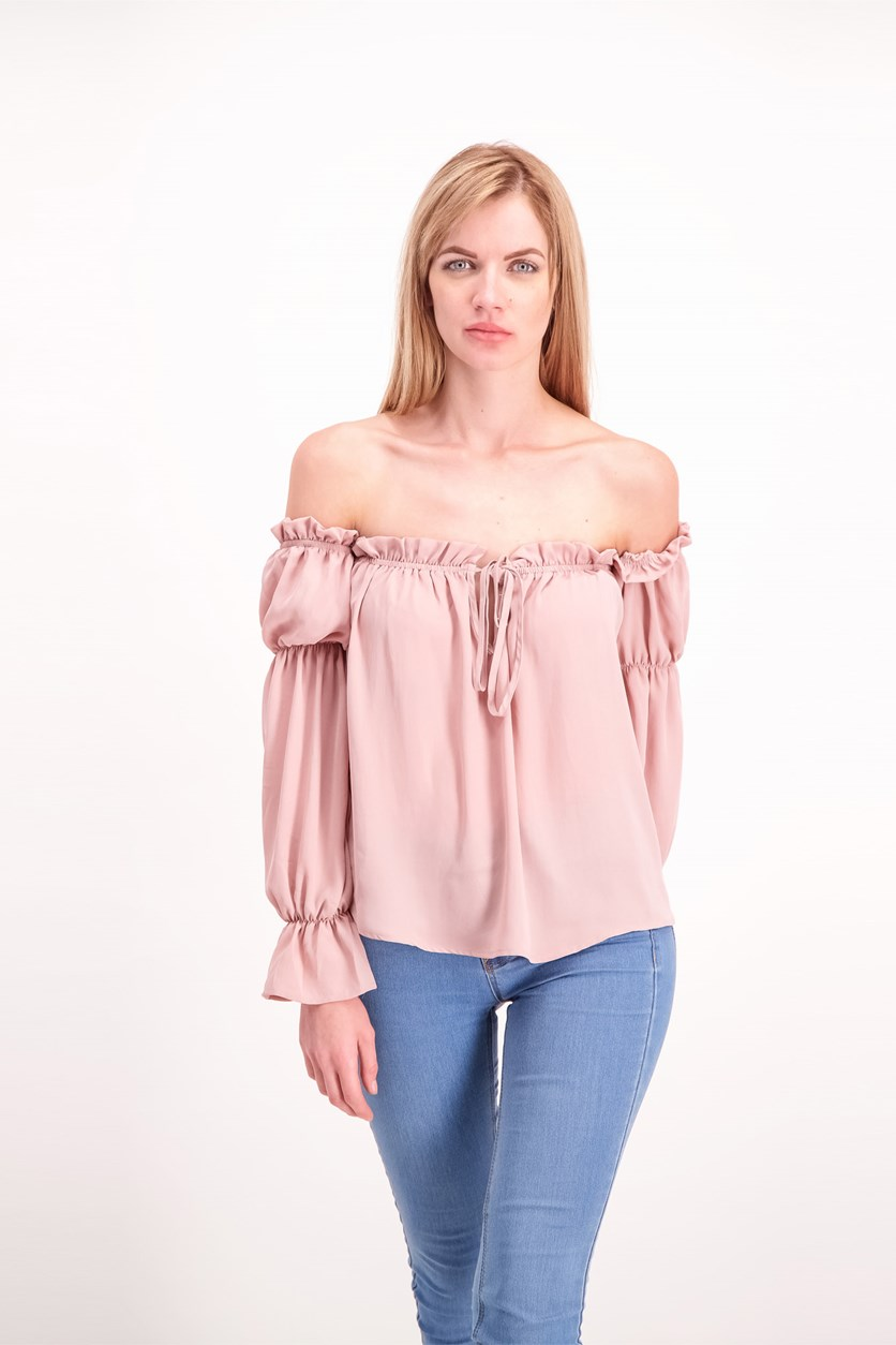 Women's Off Shoulder Top, Blush