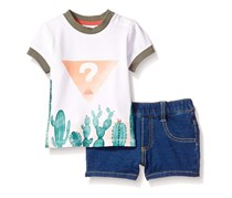 GUESS Baby Boys' Set-Short Sleeve T-Shirt and Denim Pant, White/Blue