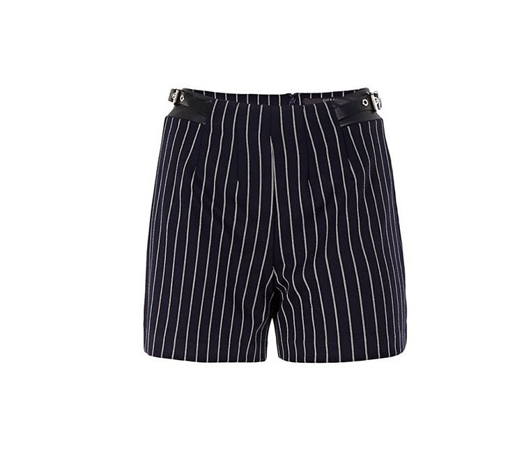 High Waist Striped Shorts, Navy