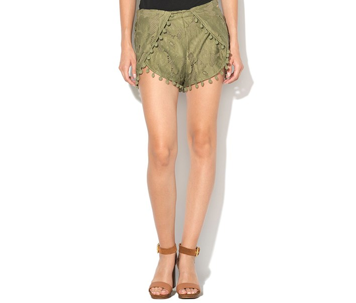 Pompom Lace Shorts, Military Green