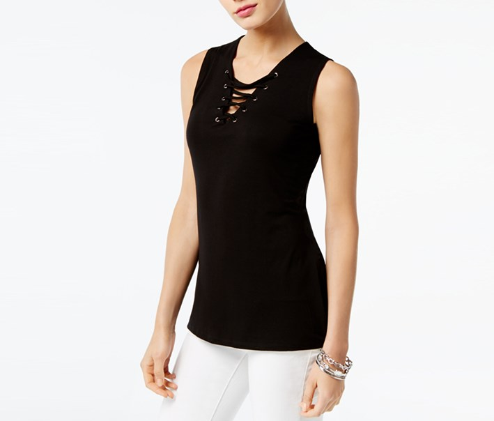 International Concepts Lace-Up Tank, Deep Black