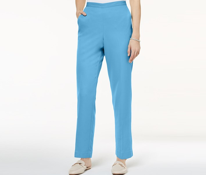 Petite Flat-Front Pull-On Pants, Blue