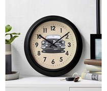 Wall Clock Route 66, Black/Beige