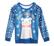 Kids Holiday-Bear Woobie Sweater, Blue