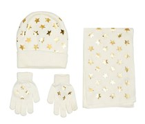 Kids Girls Foil Star Print Knit Scarf, Hat & Gloves Set, Ivory