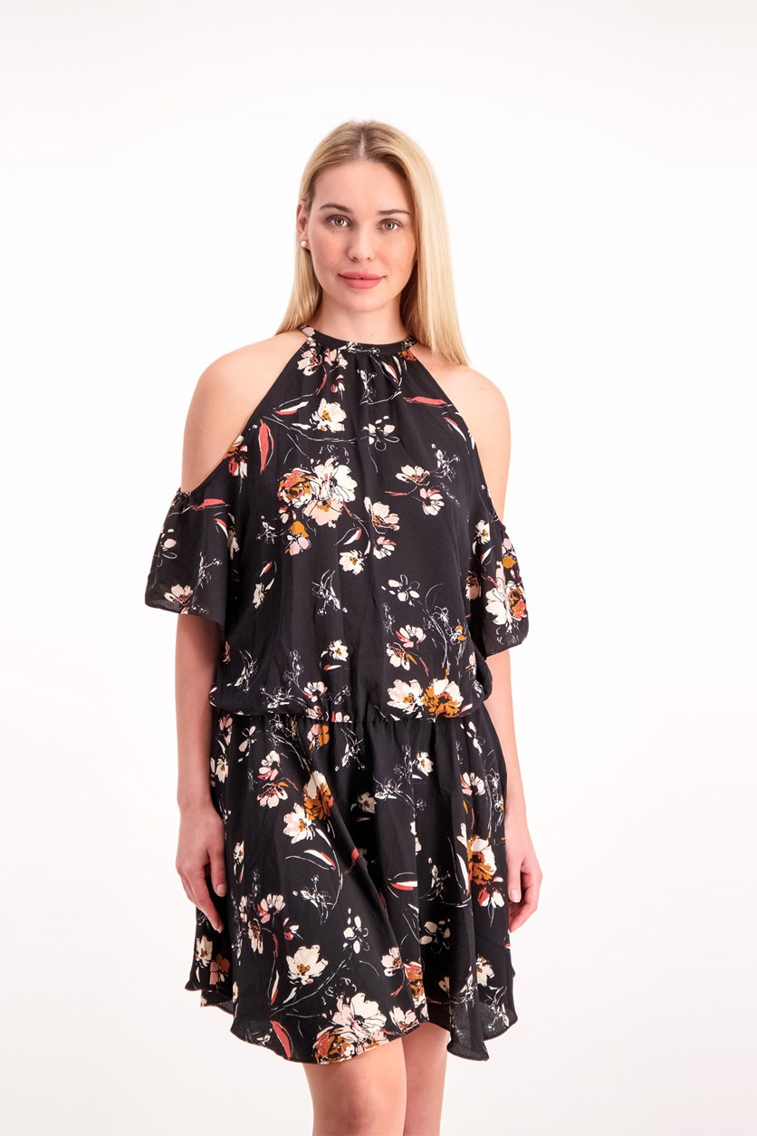 Women's Floral Print Dress, Black