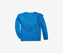 Kids Girls Fringe-Front Sweater, Blue