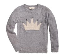 Kids Girls Crown Sweater, Grey