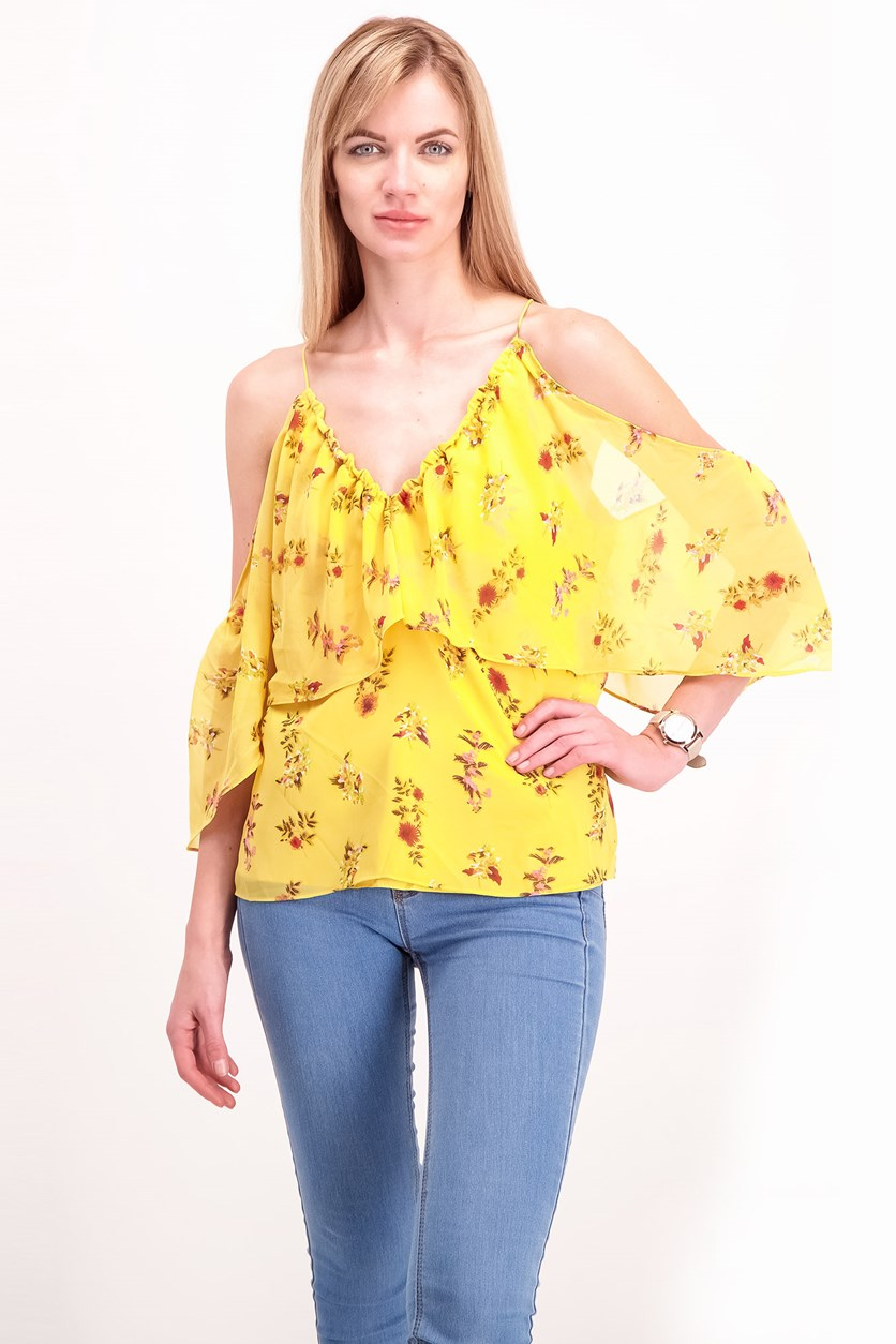 Women's Floral Print Top, Gold Blossom