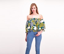 Kas NewYork  Womens Floral Off-shoulder Top, Green/Yellow Combo