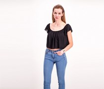 Necessary Objects Plain Crooped Top, Balck