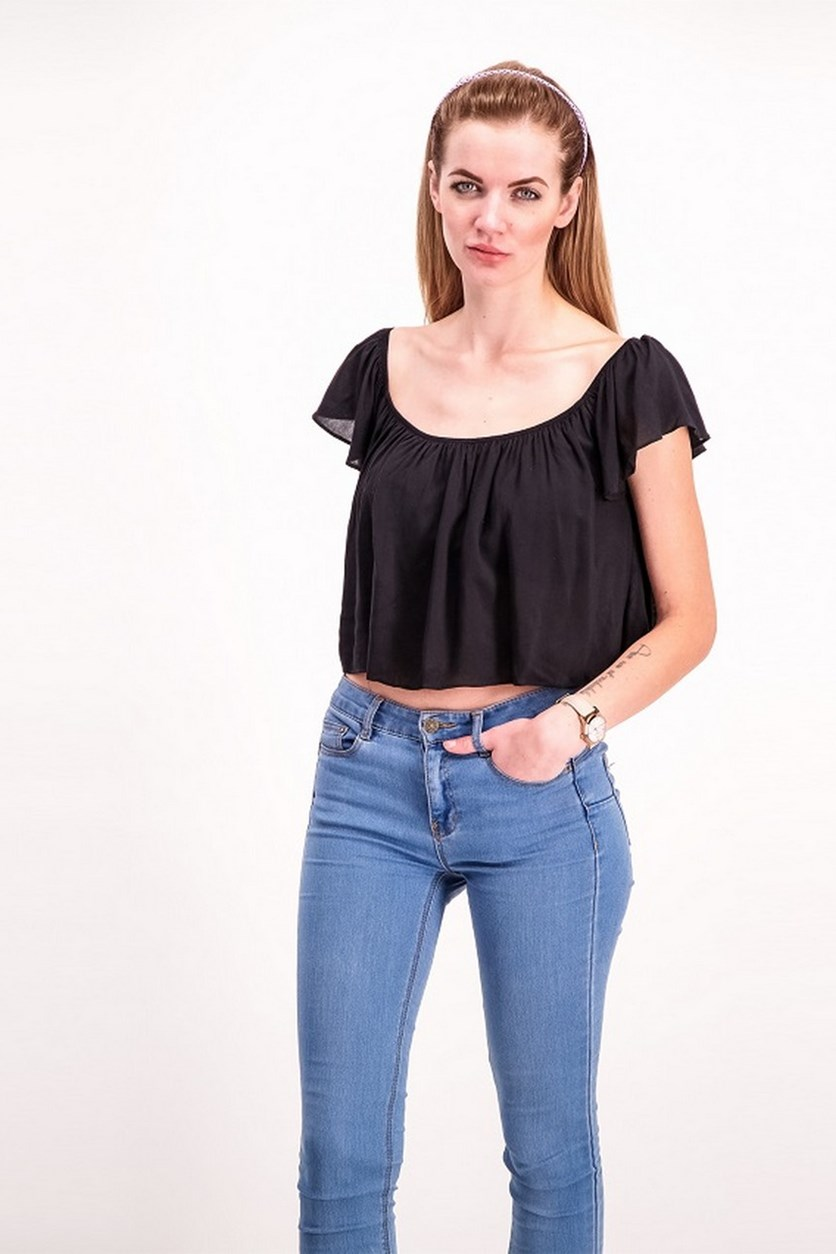 Plain Crooped Top, Balck