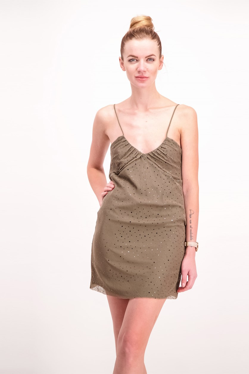 Women's Crystal Detail Dress, Olive