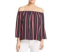 French Connection Womens Hasan Stripe Off-the-Shoulder Top, Black