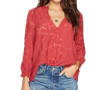 Lucky Brand Jacquard Tie-Sleeve Top, Red