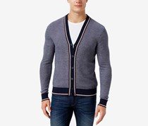 Michael Kors Mens Tipped Strip Cardigan, Midnight Navy Combo