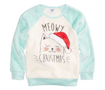 Kids Evy of California Cat Holiday Sweater, Light Blue/Egg Shell