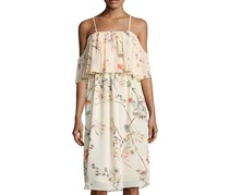 Bishop + Young Cold-Shoulder Lily Tiered Dress, Light Peach Combo