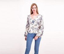 Willow & Clay Womens V-Neck Floral Top, Pearl