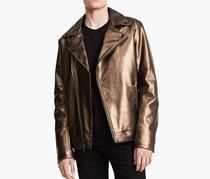 Men's Faux Leather Asymmetrical Moto Jacket, Bronze
