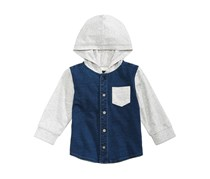 First Impressions Layered-Look Hooded Denim Shirt, Blue/Grey