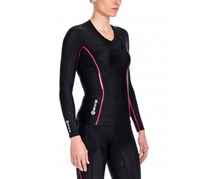Skins Women's A200 Long Sleeve Compression Top, Black/Fushia
