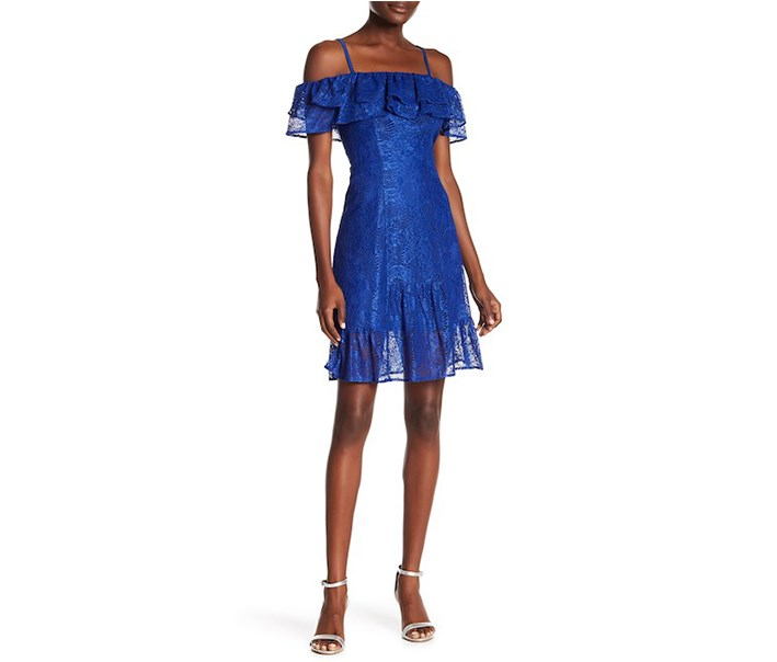Off-the-Shoulder Ruffle Lace Dress, Cobalt