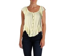 Free People Mint Julep Button-Front Top, Faded Sun