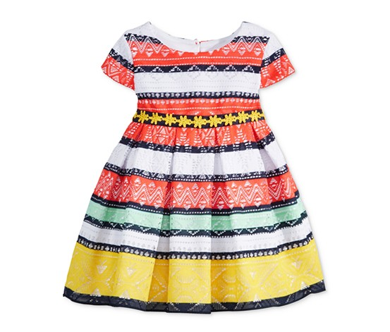 Sweet Heart Rose Girl's Mixed-Stripe Lace Dress, Orange