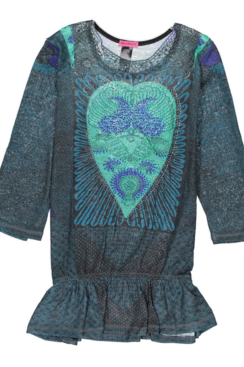 Womens Heart Embellished  Top, Teal/Black Combo
