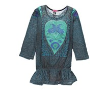 Custo Barcelona Womens Heart Embellished  Top, Teal/Black Combo